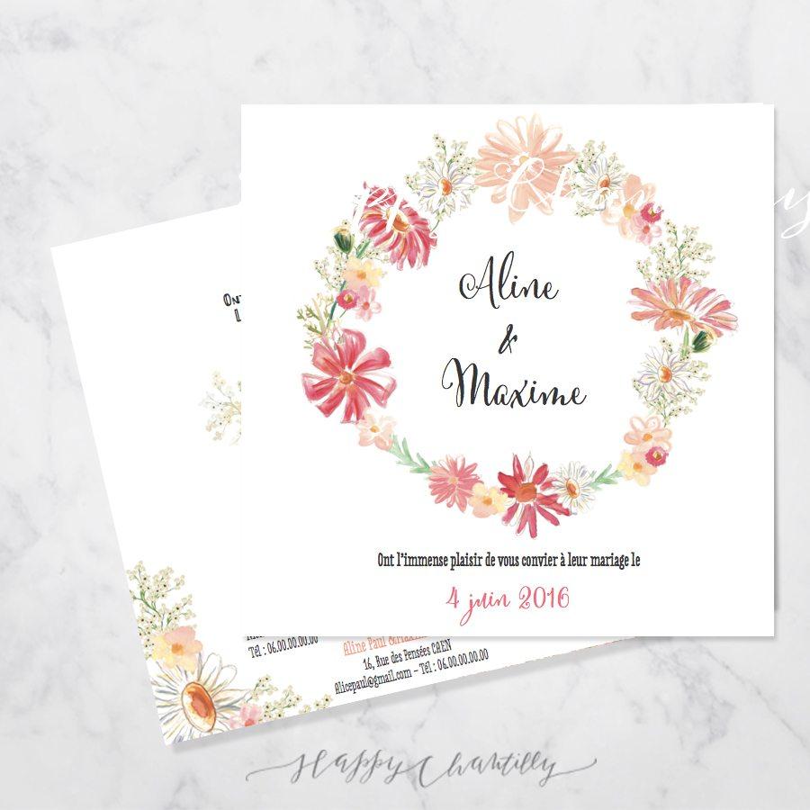 faire part mariage couronne de fleurs