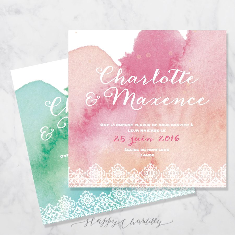 Connu Faire-part mariage Aquarelle dentelle – Happy Chantilly Studio PW02