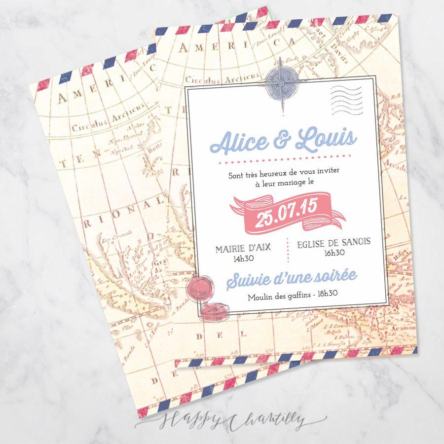 Favori Faire-part mariage Voyage vintage – Happy Chantilly Studio JI71