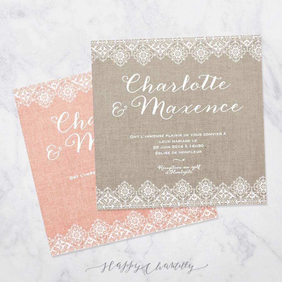 Super Faire-part mariage Dentelle & Lin – Happy Chantilly Studio DY22