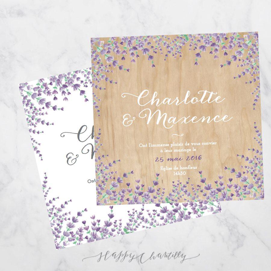 Extrêmement Faire-part mariage Lavande – Happy Chantilly Studio UY38