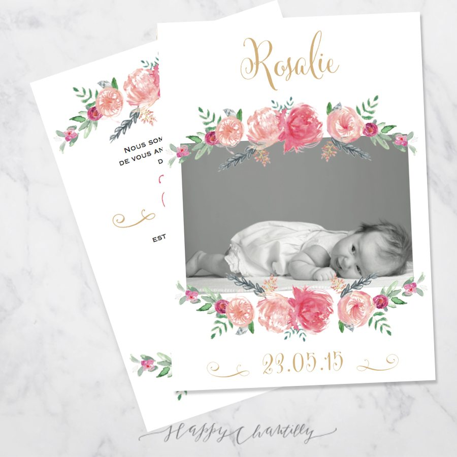 Connu Faire-part naissance fille Pivoines – Happy Chantilly Studio YT05