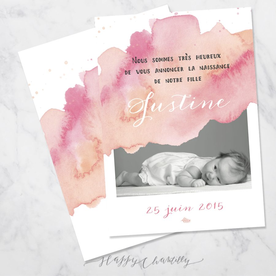 Fabulous Faire-part naissance fille Aquarelle – Happy Chantilly Studio WX98
