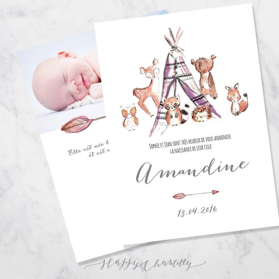 Connu Faire-part naissance fille Tipi animaux de la forêt – Happy  CP09