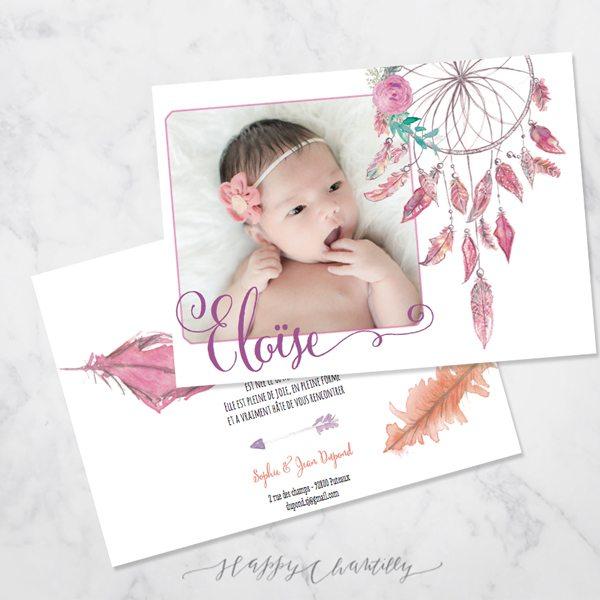 Connu Faire-part naissance fille Attrape rêve – Happy Chantilly Studio CH23