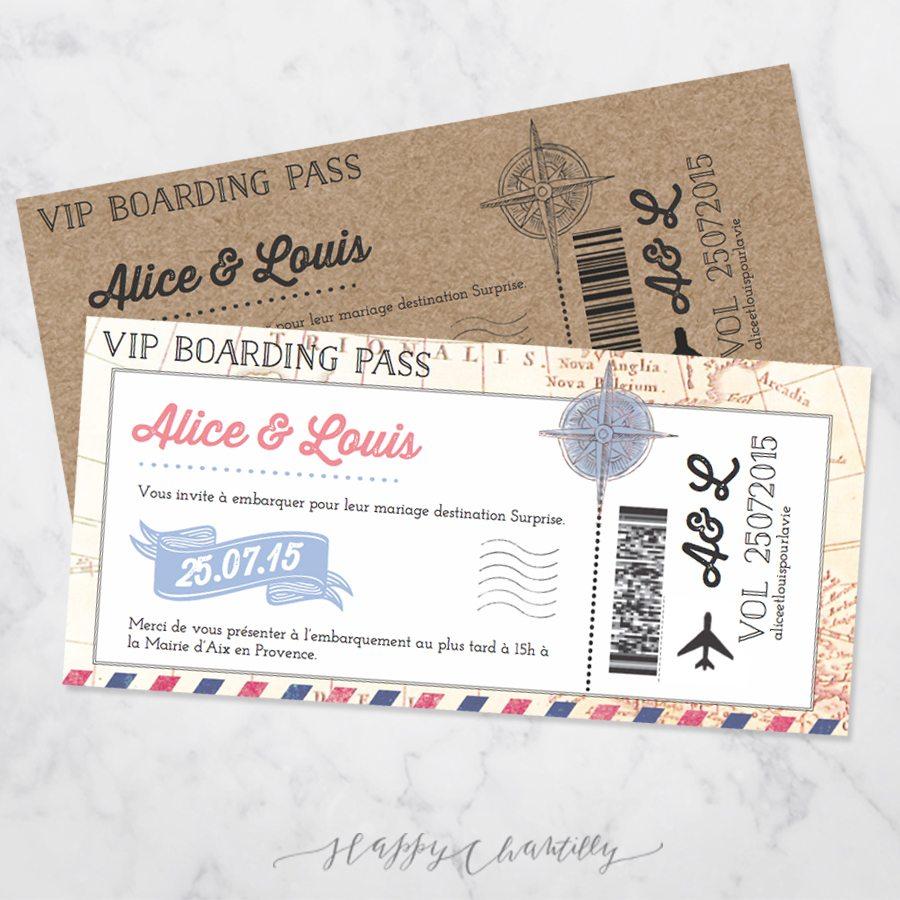 Favori Faire-part mariage Billet d'avion – Happy Chantilly Studio TG66