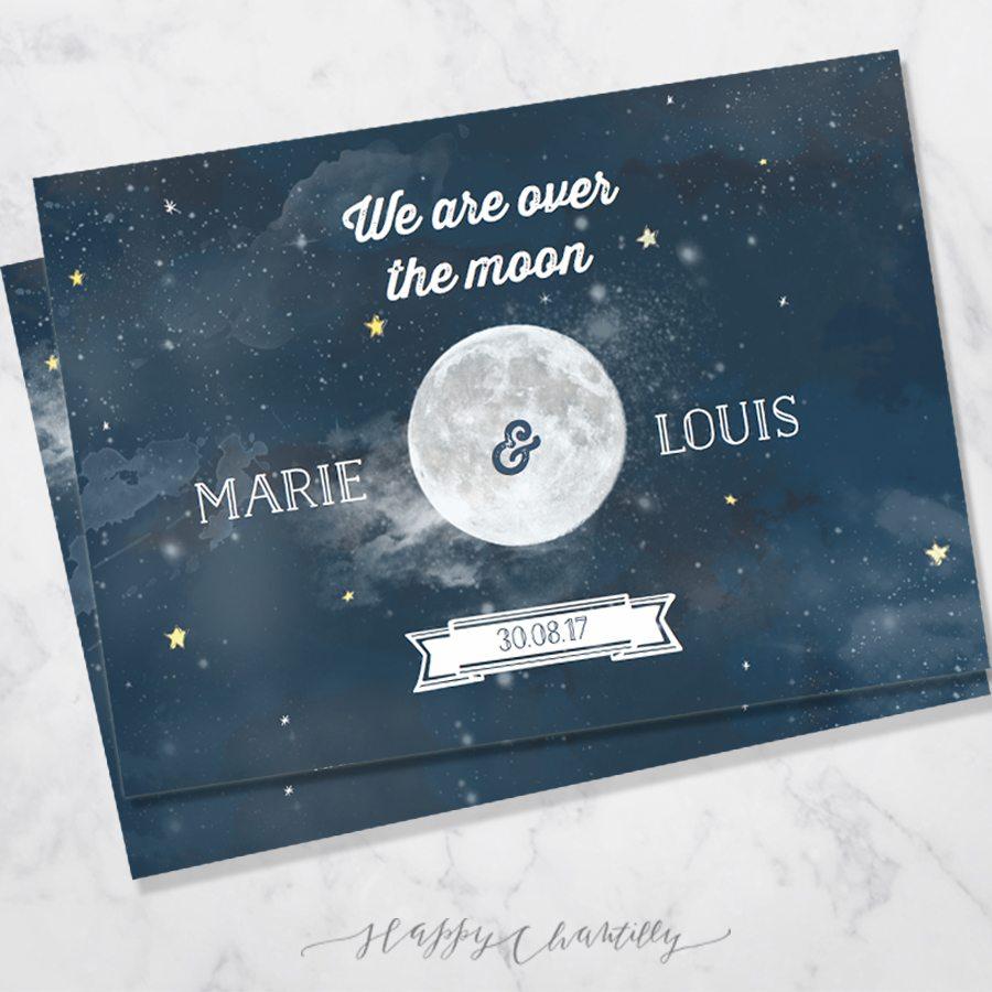 Célèbre Faire-part mariage Lune étoiles – Happy Chantilly Studio RV95