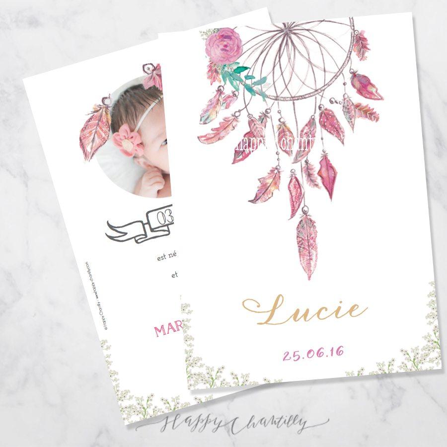 Bien connu Faire-part naissance Attrape rêve plumes fille – Happy Chantilly  QL78