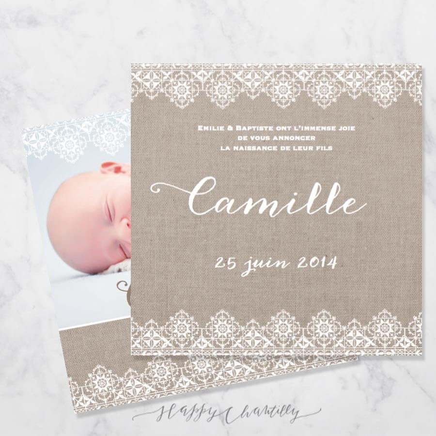Favori Faire-part naissance Dentelle & Lin – Happy Chantilly Studio QP21
