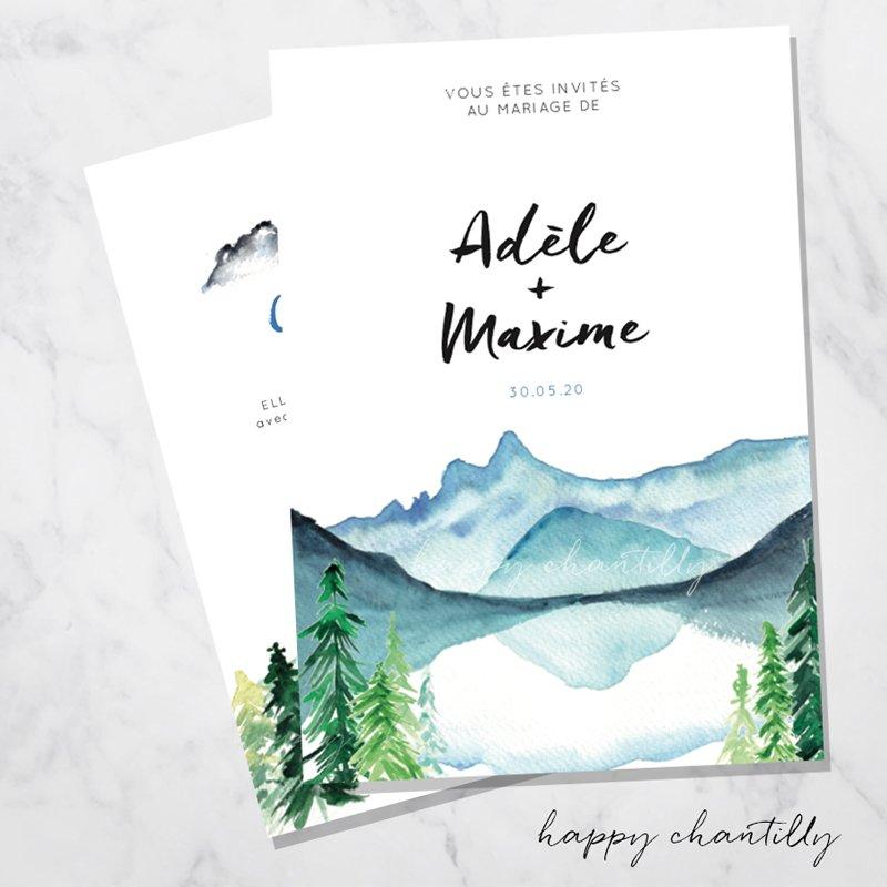 Extraordinaire Faire-part mariage montagne – Happy Chantilly Studio MT-88