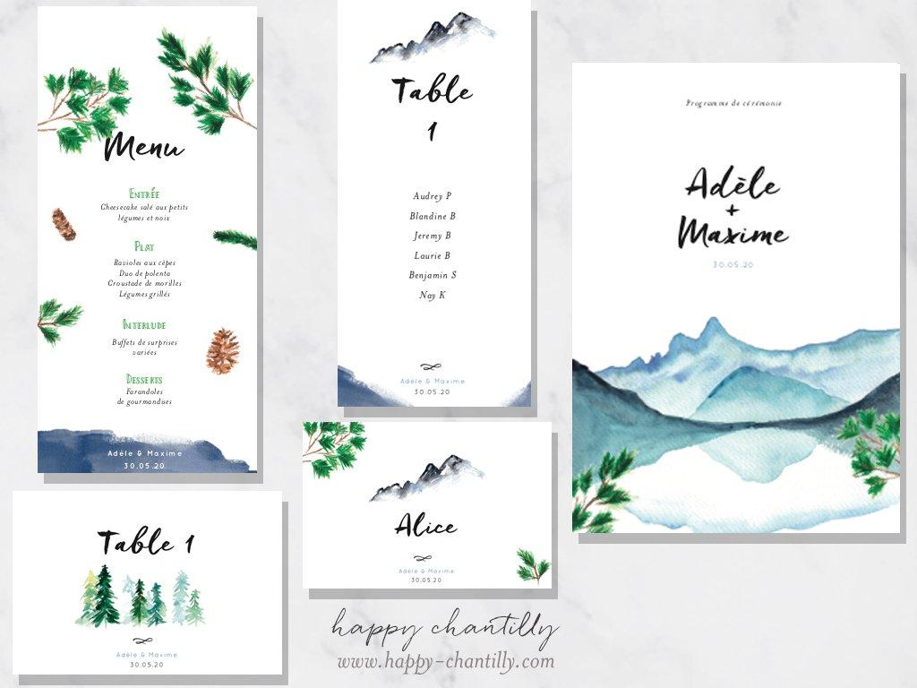 Étonnant Faire-part mariage Montagne & cartes assorties – Happy Chantilly BM-94