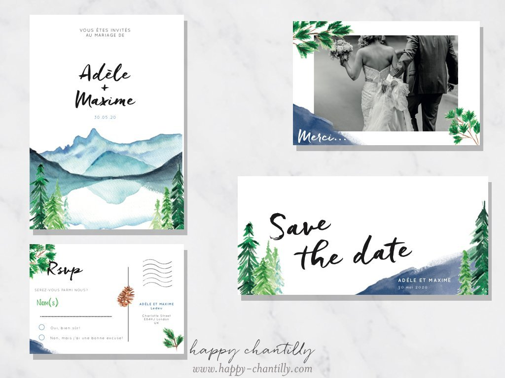 Admirable Faire-part mariage Montagne & cartes assorties – Happy Chantilly UU-48